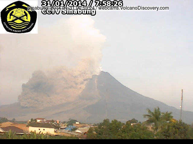 Pyroclastic flow at Sinabung volcano this morning