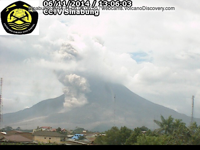 Smaller pyroclastic flow at Sinabung today