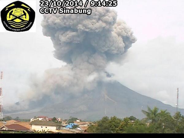 Pyroclastische stroom op Sinabung op 23 oktober 2014 (VSI webcam)