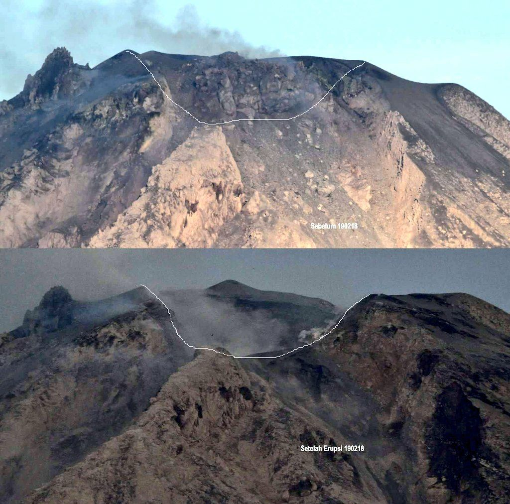 Comparision of Sinabung's summit before (t) and after (b) the 19 Feb explosion, removing the dome (image:  Sutopo Purwo Nugroho @Sutopo_PN / twitter)
