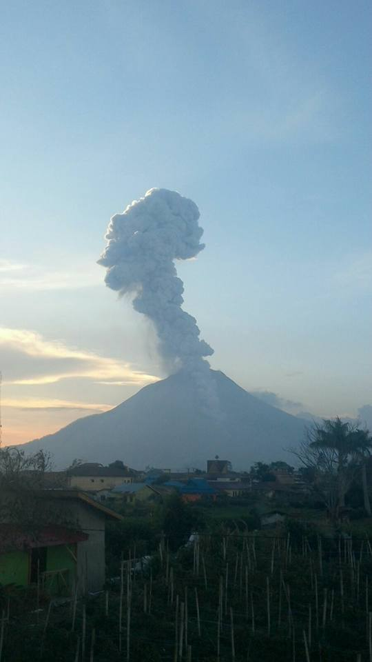 Explosion and pyroclastic flow at Sinabung yesterday evening (photo: Leopold Kennedy Adam @LeopoldAdam / twitter)
