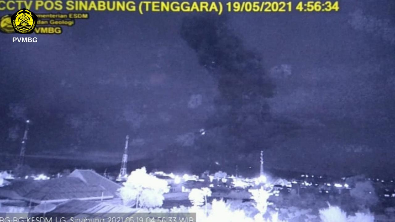 Strong eruption accompanied by pyroclastic flows this morning (image: PVMBG)