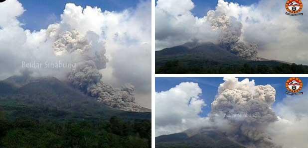Pyroclastic flow on Sinabung Saturday noon (source: Leopold Kennedy Adam @LeopoldAdam / twitter)
