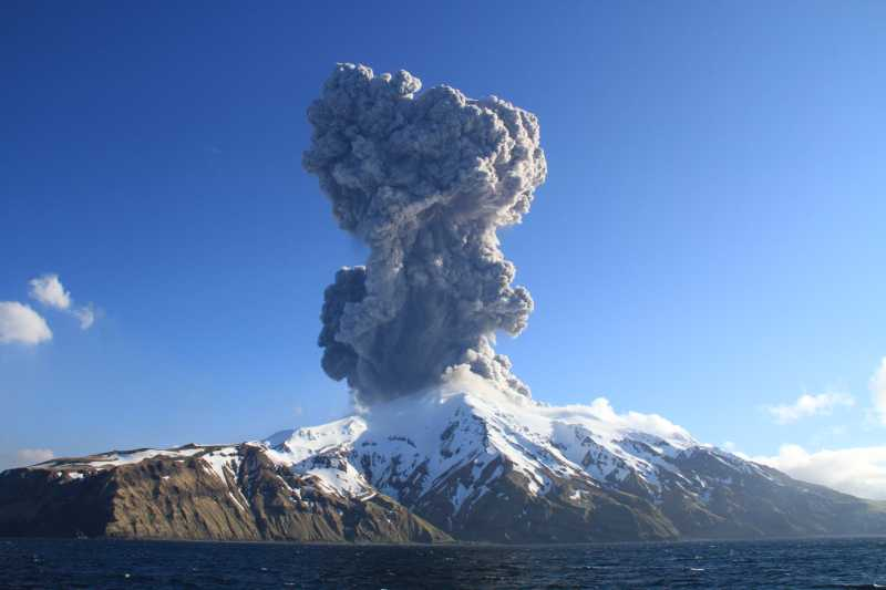 Explosive eruption from Great Sitkin volcano yesterday (image: AVO)