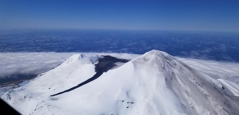 Great Sitkin volcano with the lahar traveled from the summit crater (image: Steve Rhodes AVO)