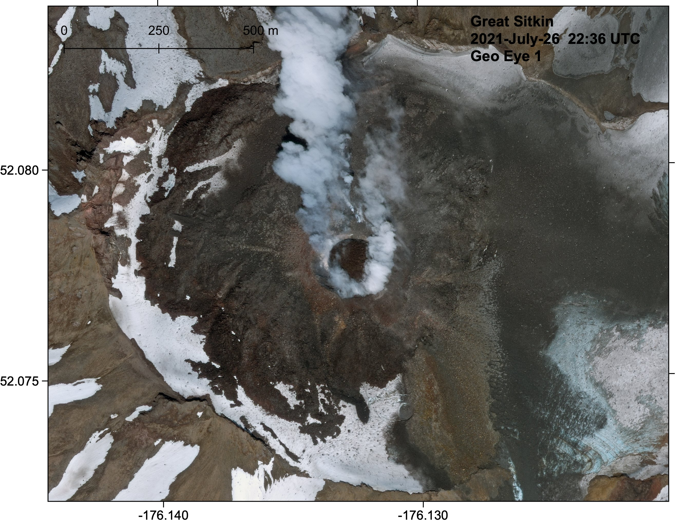 Degassing activity continues from the new lava dome at Great Sitkin volcano (image: AVO)