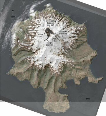 Satellite image of ash traces and lahar at the volcano (image: AVO)