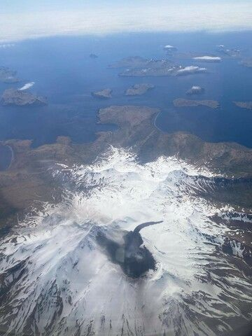 Great Sitkin volcano with the lahar traveled from the summit crater (image: AVO)