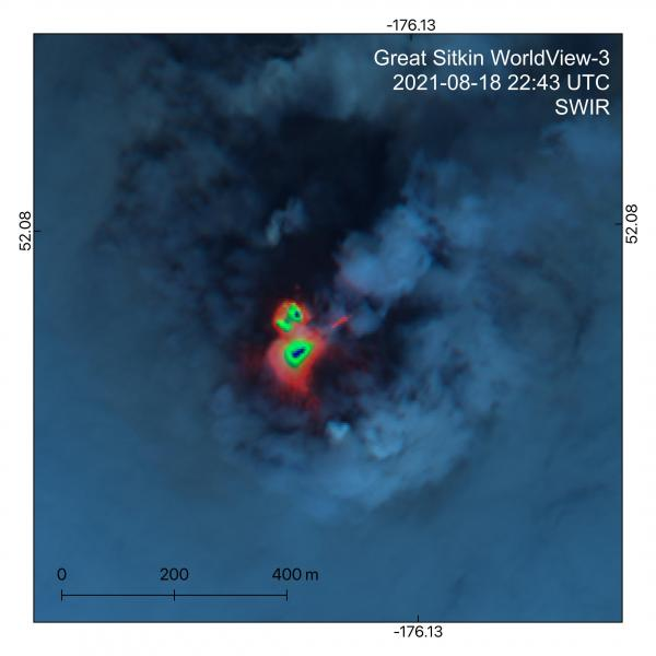 The growing lava dome visible in the infrared (SWIR) multispectral satellite image from 18 August (image: (H. Dietterich/USGS/AVO)