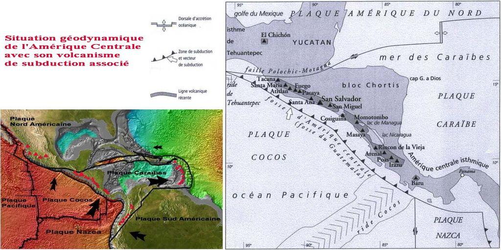 Situation géodynamique en Amérique Centrale et le volcanisme de subduction associé.