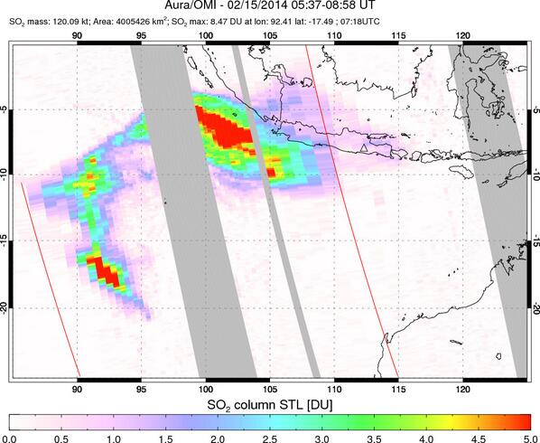 SO2 plume from Kelut's eruption over the Indian Ocean (@simoncarn)