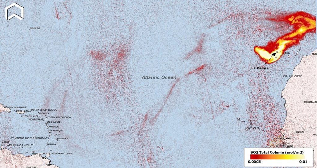 SO2 plume from La Palma eruption hovering over the Canary islands and the Atlantic (image: Copernicus)