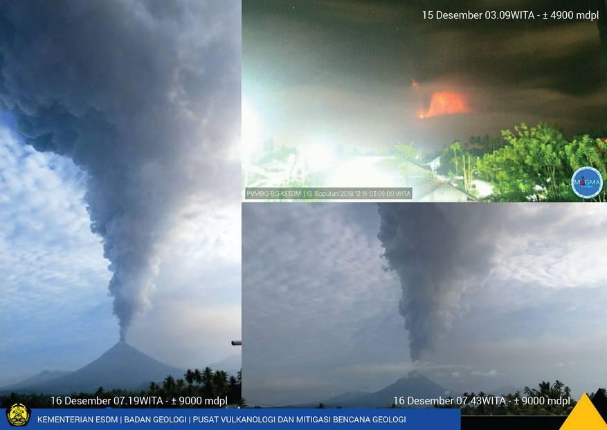 Eruption of Soputan today (image: PVMBG)