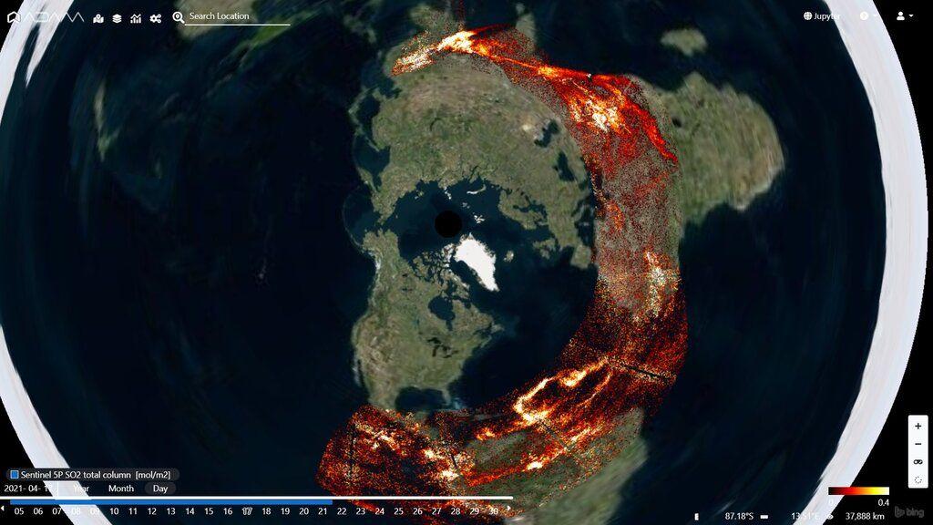 Eruption plumes travel around the world seen from the satellite polar view (image: @PlatformAdam/twitter)