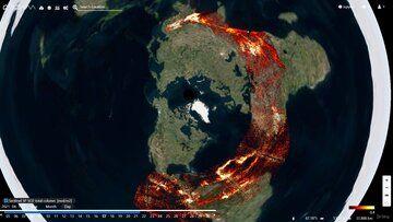 Las columnas de erupción viajan alrededor del mundo como se ve desde la vista polar del satélite (imagen: @ PlatformAdam / twitter)
