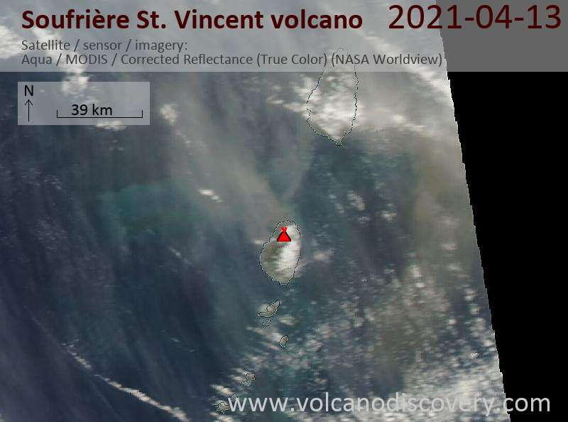 Satellite image of Soufrière St. Vincent volcano on 14 Apr 2021