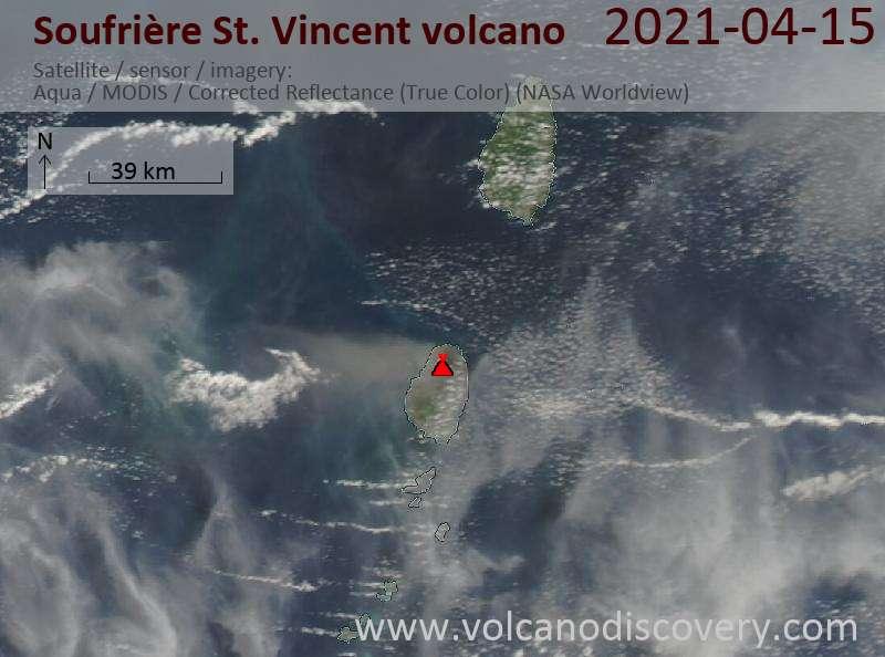 Satellite image of Soufrière St. Vincent volcano on 15 Apr 2021