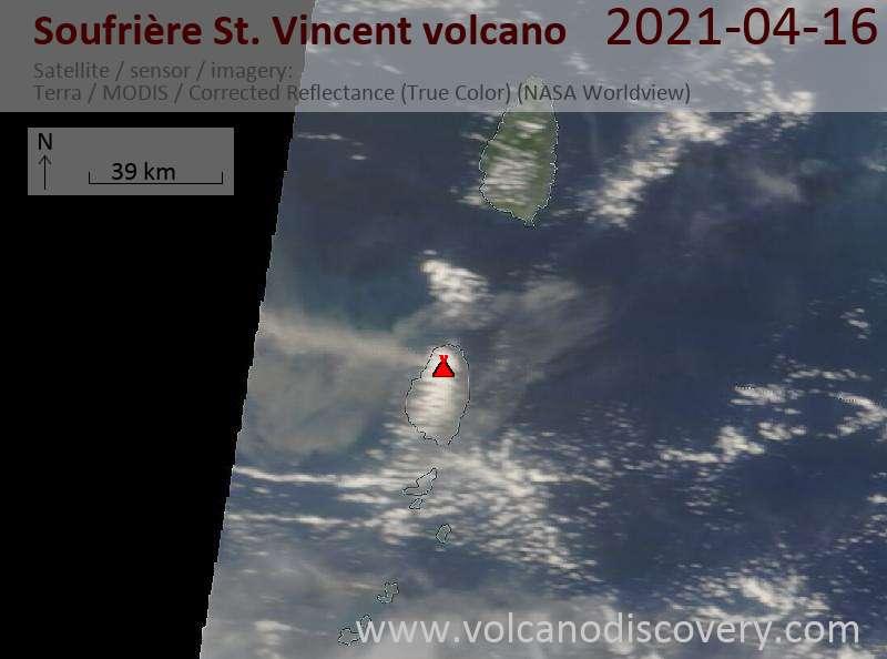 Satellite image of Soufrière St. Vincent volcano on 17 Apr 2021
