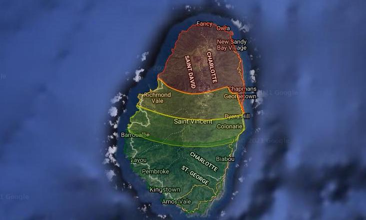 Volcanic Hazard Zones at Soufrière St. Vincent volcano (image: NEMO)
