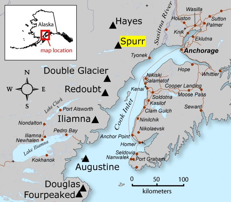 Location map of Spurr Volcano, Cook Inlet region, Alaska (courtesy of Janet Schaefer, Alaska Volcano Observatory / USGS)
