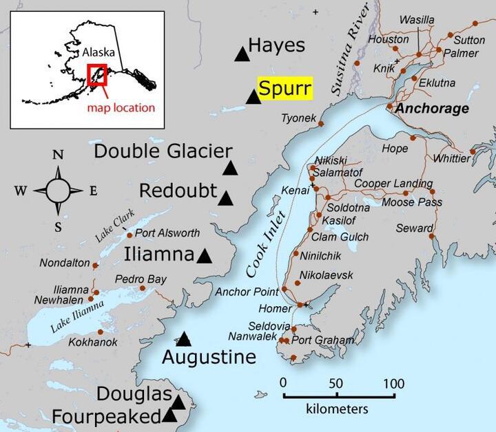 Location map of Spurr Volcano, Cook Inlet region, Alaska (courtesy of Janet Schaefer, Alaska Volcano Observatory / USGS)