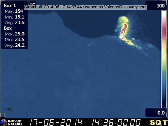Eruption from Stromboli's NE vent and small lava overflow today (INGV thermal webcam)