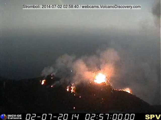 The crater terrace of Stromboli this morning (Pizzo webcam, INGV Catania).