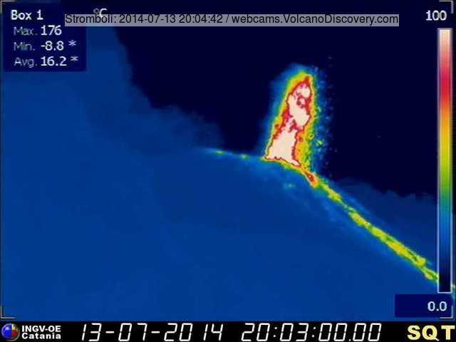 Stromboli-uitbarsting van de Stromboli NE vent gisteren