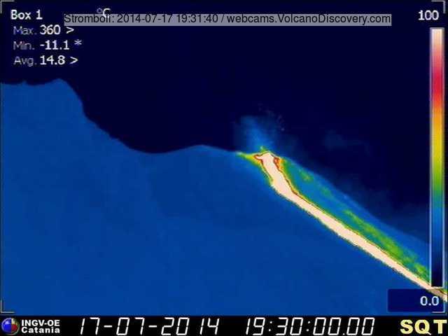 Lavastroom op Stromboli 17 juli avonds