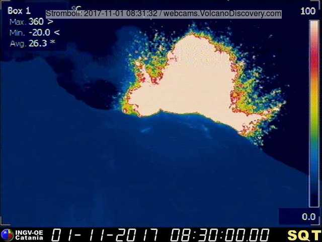 Eruption at Stromboli on 1 NOv 2017 (INGV thermal webcam)