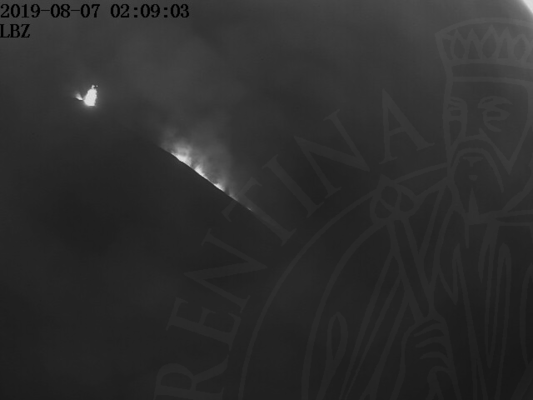 Eruption from a vent of Stromboli and glow from the lava flow on the Sciara shortly after midnight (image: LBS webcam)
