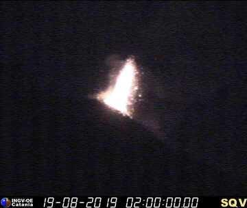 Strong strombolian eruption at Stromboli last night (image: INGV Catania webcam)