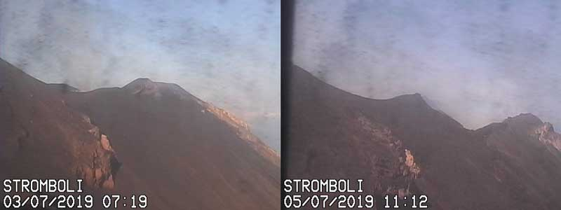 Comparison of the crater before (l) and after (r) (image: Vulcano a Piedi webcam)