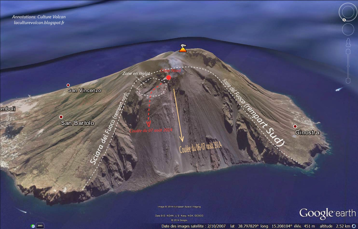 Topography of yesterday's and this morning's lava flows of Stromboli