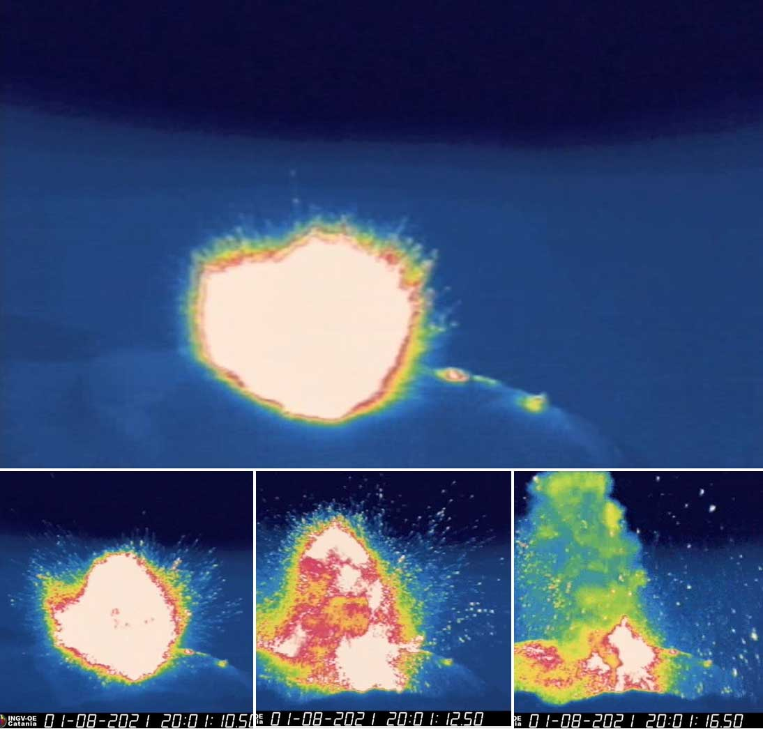 Sequence of the eruption last night at Stromboli volcano (image: INGVvulcani)