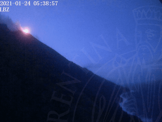 Strombolian activity at Stromboli early this morning (image: LGS webcam)