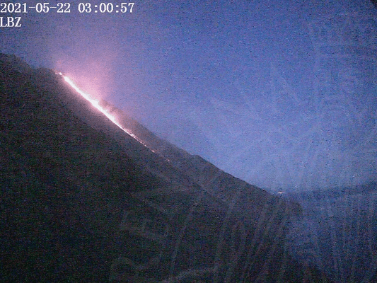 Stromboli's lava flow early this morning (image: LGS webcam)