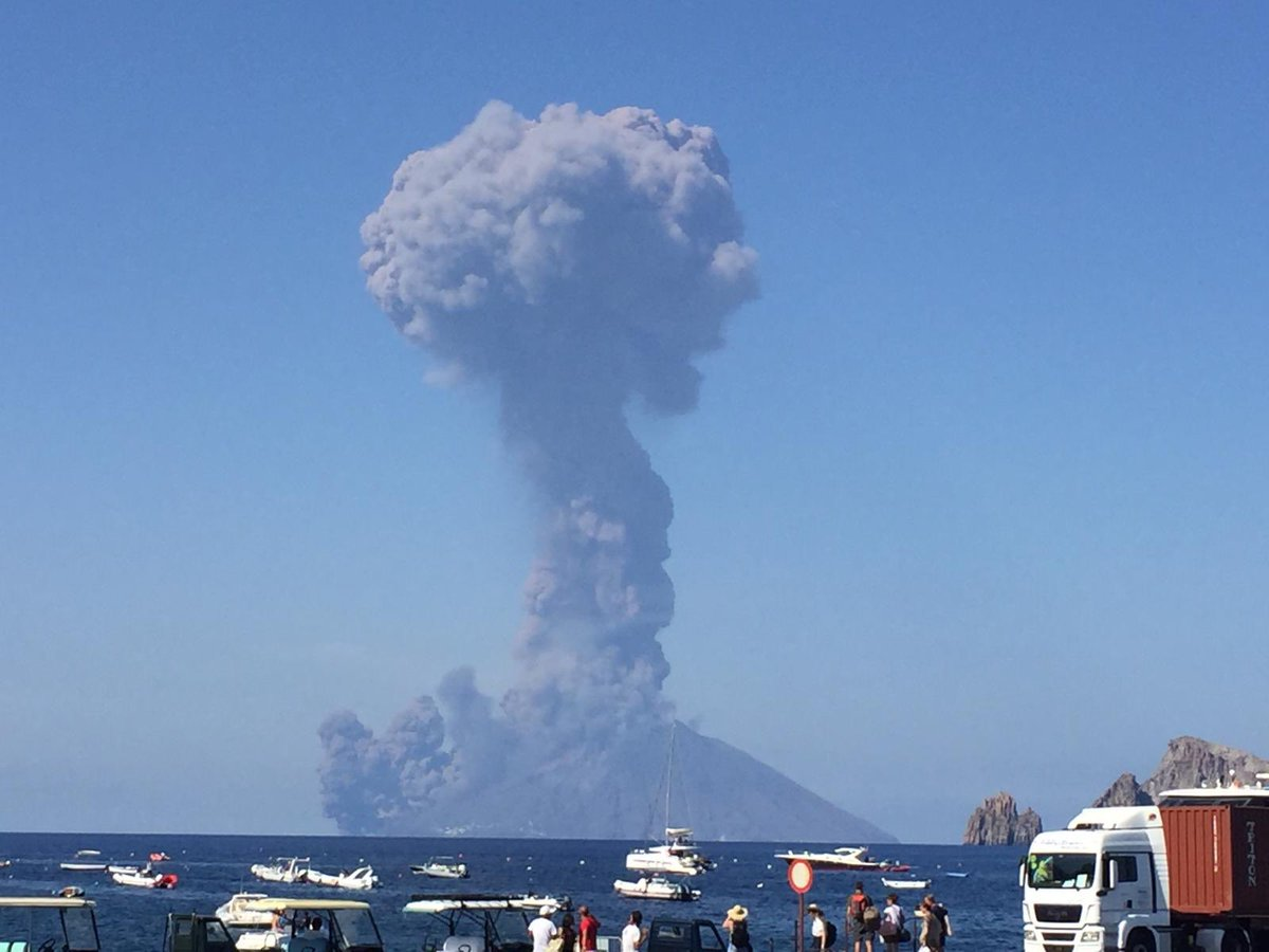 The large eruption column from Stromboli's eruption today rising approx. 5 km, and ash plumes from a pyroclastic flow down the Sciara. Image taken from neighboring island of Panarea, courtesy of Marco Ortenzi via twitter (@mortenzi)