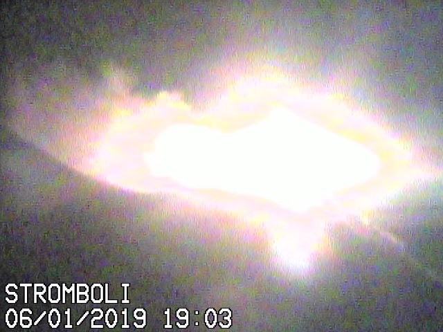 Bright explosion from Stromboli's NE crater this evening (image: Vulcano a Piedi webcam)