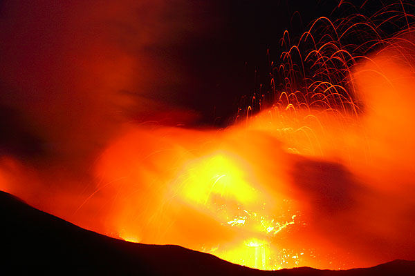 Glow from 3 spattering and erupting vents of the central crater of Stromboli
