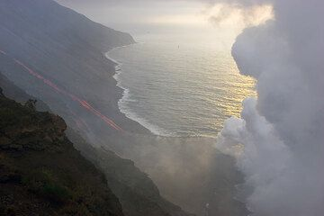 Lava flow and the steam plume.