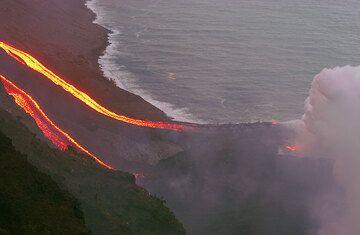 Zoom onto the lava delta.