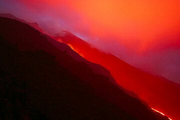 Red lava glow on the Sciara.
