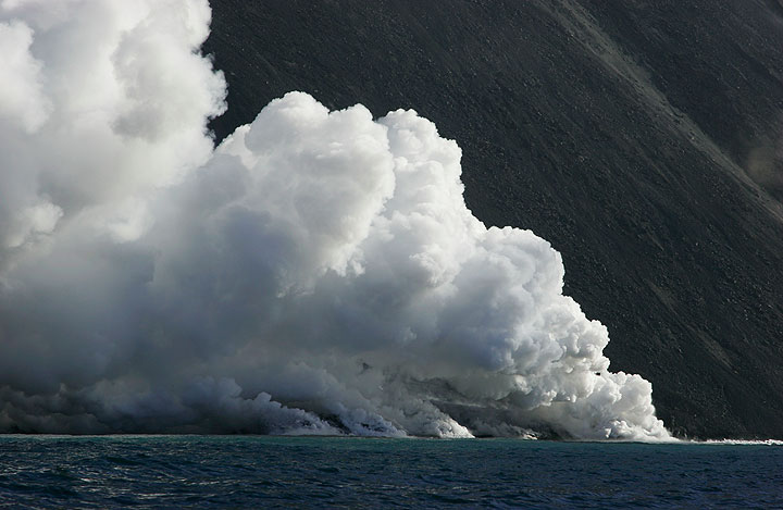 Boiling steam at the lava entry.