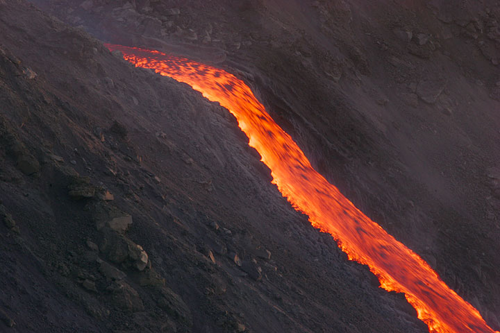 Lava flowing from the vent