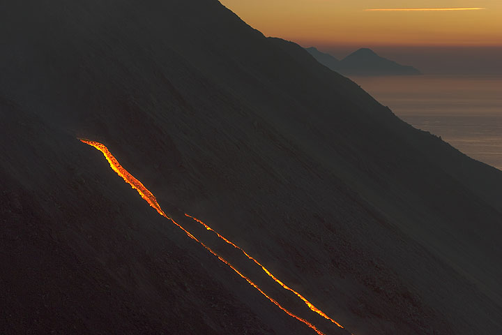 The lava flows after sunset.