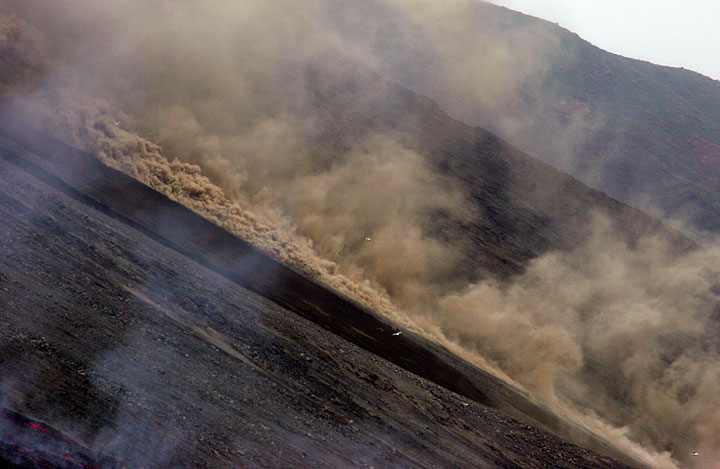 Another, more powerful pyroclastic flow develops minutes later (1)