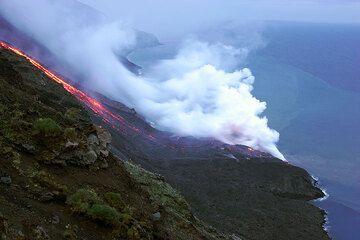 The lava channel on the Sciara