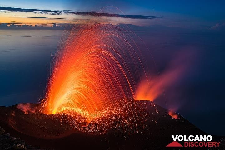 Typical (moderately strong) activity of Stromboli as seen a few months ago during an excursion to the summit.