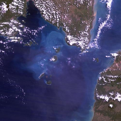 NASA satellite image of the Sunda Strait, Indonesia